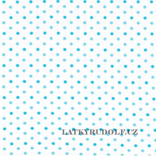 Látka Bavlněný úplet puntík 4mm tyrkysový 144032