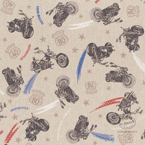 Dekorační látka Motorky na pevné režné 103075