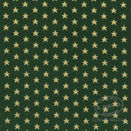 Látka Vánoční hvězdy na zelené zlatotisk 103575