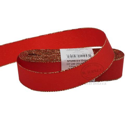 Stuha taftová s rexorem šíře 25mm 30643-červená+zlato