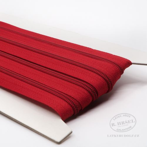Zip spirálový v metráži 3mm 148-červený, zesílený