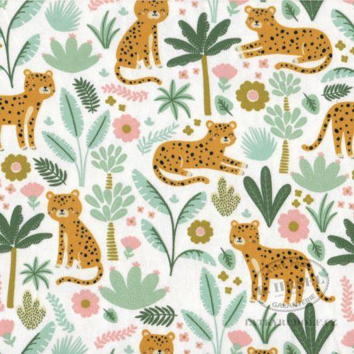 Látka Bavlněný úplet tygři 149359