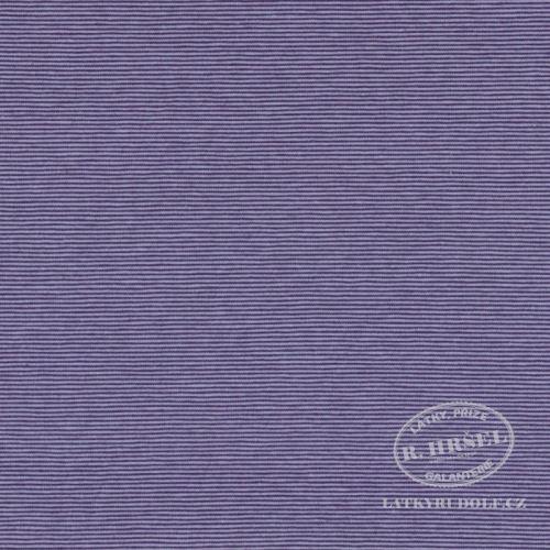 Látka Bavlněný úplet proužek 1mm fialový 149325