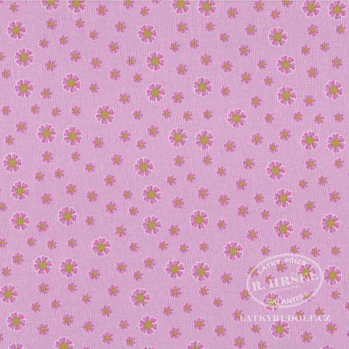 Látka Bavlněný úplet kvítka na růžové 149350