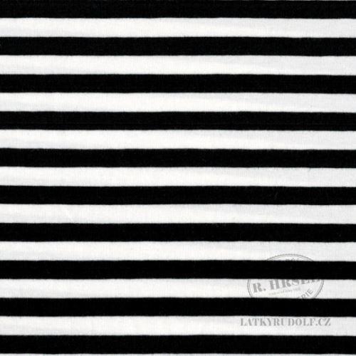 Látka Bavlněný úplet proužek 1cm černý 149261