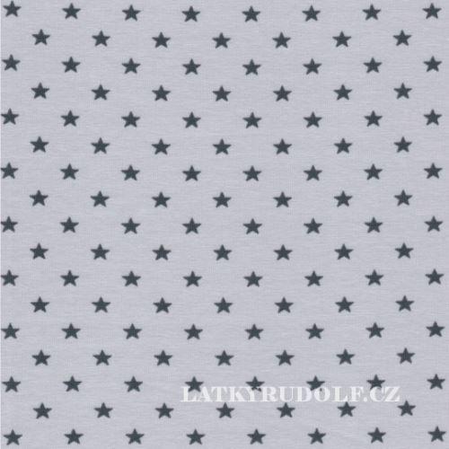Látka Bavlněný úplet hvězdičky 5mm šedé na šedé 149245