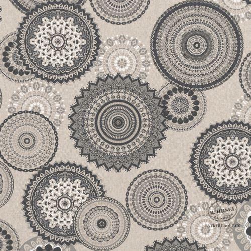 Dekorační látka Mandaly šedé na pevné režné 103087