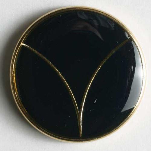 Knoflík Dill 15mm černozlatý 300152