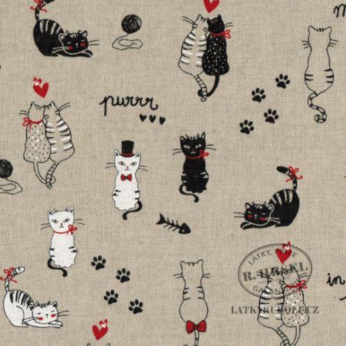 Látka s kočkami na pevné režné in love 102905
