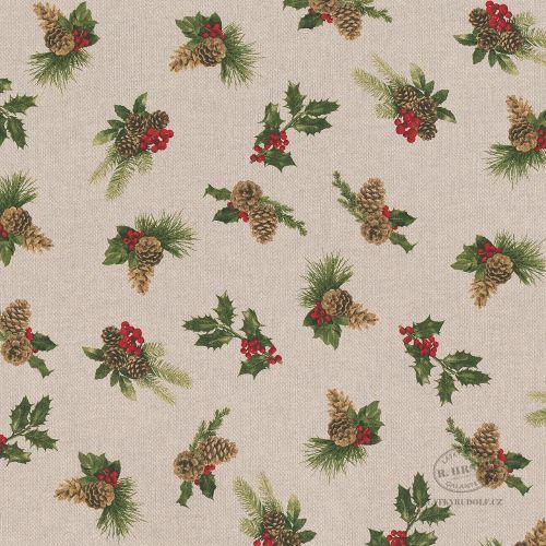 Látka Vánoční zeleň na pevné režné 102968