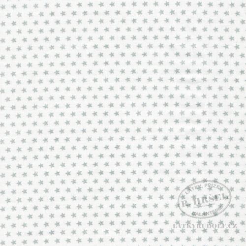 Látka Hvězdičky stříbrné na bílé 103581
