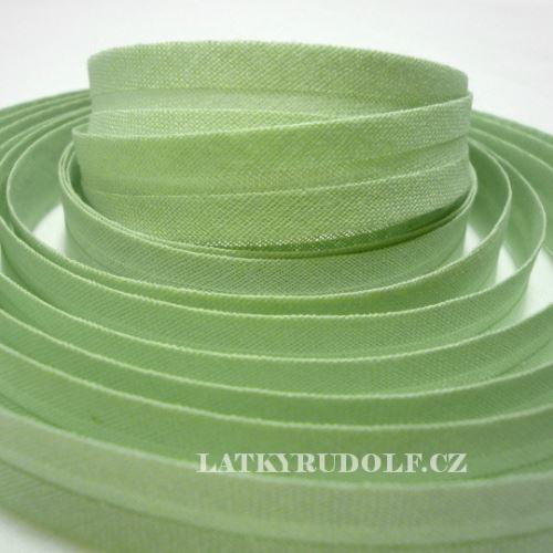 Šikmý proužek bavlněný 14mm ledově zelená