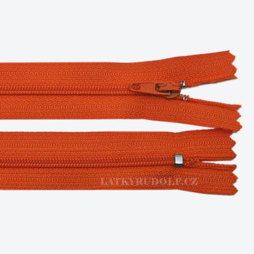 Zip spirálový 3mm nedělitelný 45cm 154K-oranžová