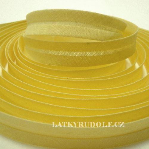 Šikmý proužek bavlněný 14mm světle žlutý
