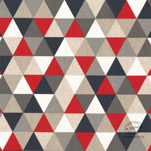 Dekorační látka Trojúhelníky červená-režná 201793