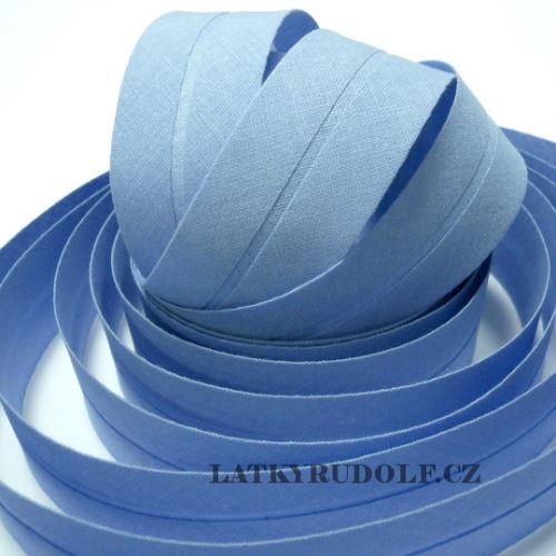 Šikmý proužek bavlněný 30mm světle modrý
